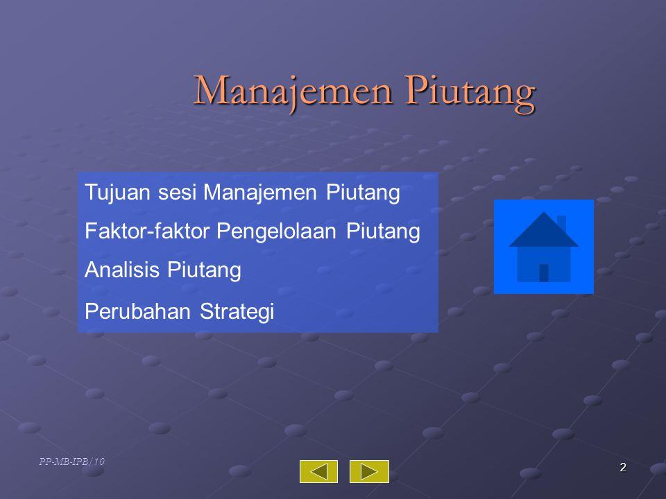 Manajemen Piutang Tujuan sesi Manajemen Piutang