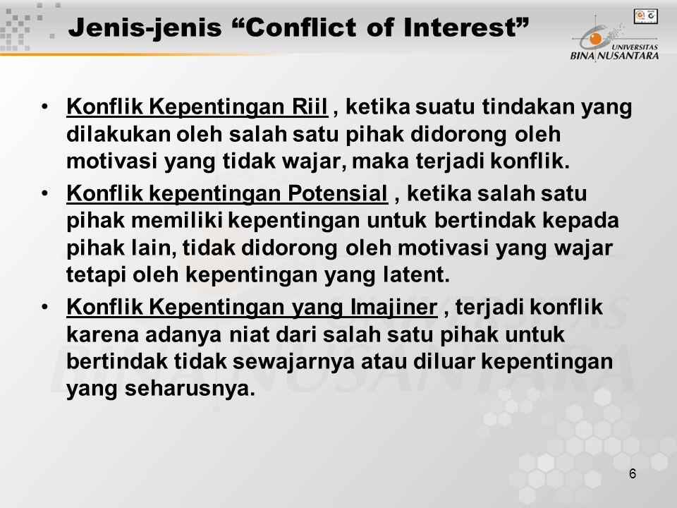 Jenis-jenis Conflict of Interest