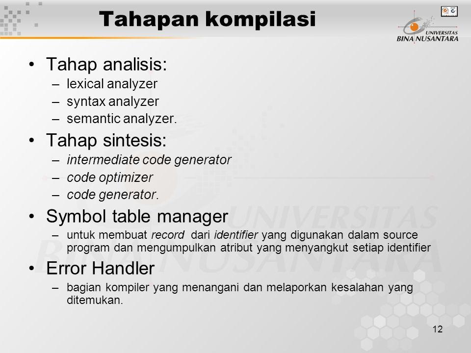Tahapan kompilasi Tahap analisis: Tahap sintesis: Symbol table manager