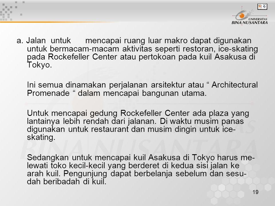 a. Jalan untuk mencapai ruang luar makro dapat digunakan untuk bermacam-macam aktivitas seperti restoran, ice-skating pada Rockefeller Center atau pertokoan pada kuil Asakusa di Tokyo.