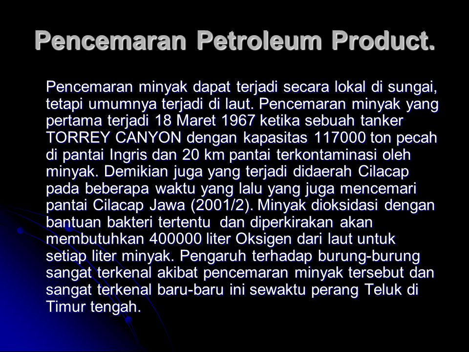 Pencemaran Petroleum Product.