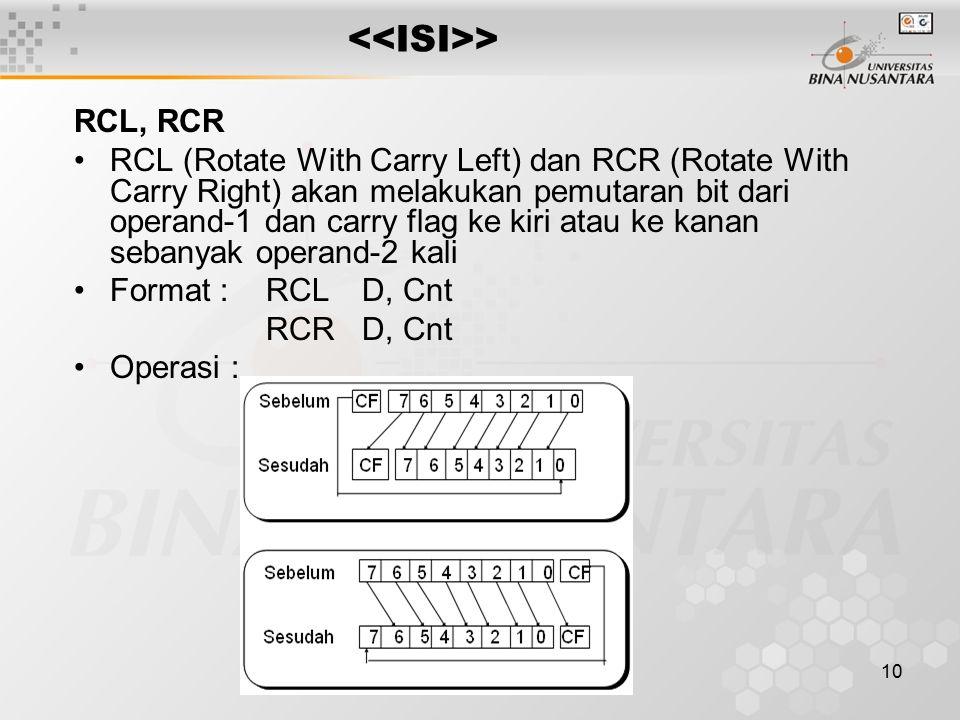 <<ISI>> RCL, RCR