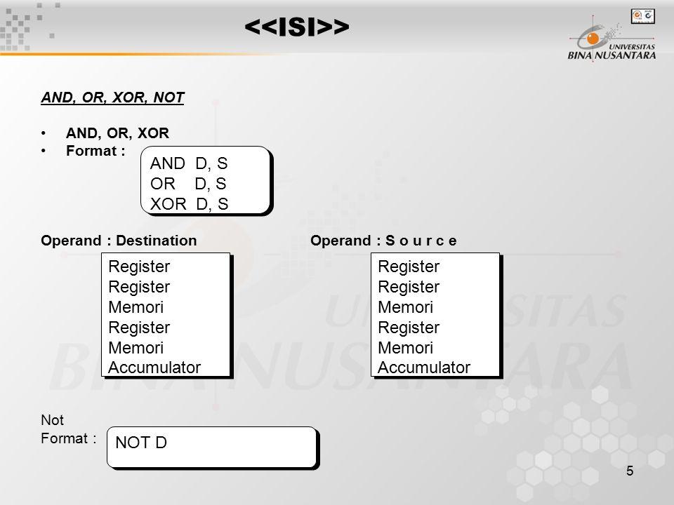 <<ISI>> AND D, S OR D, S XOR D, S Register Memori