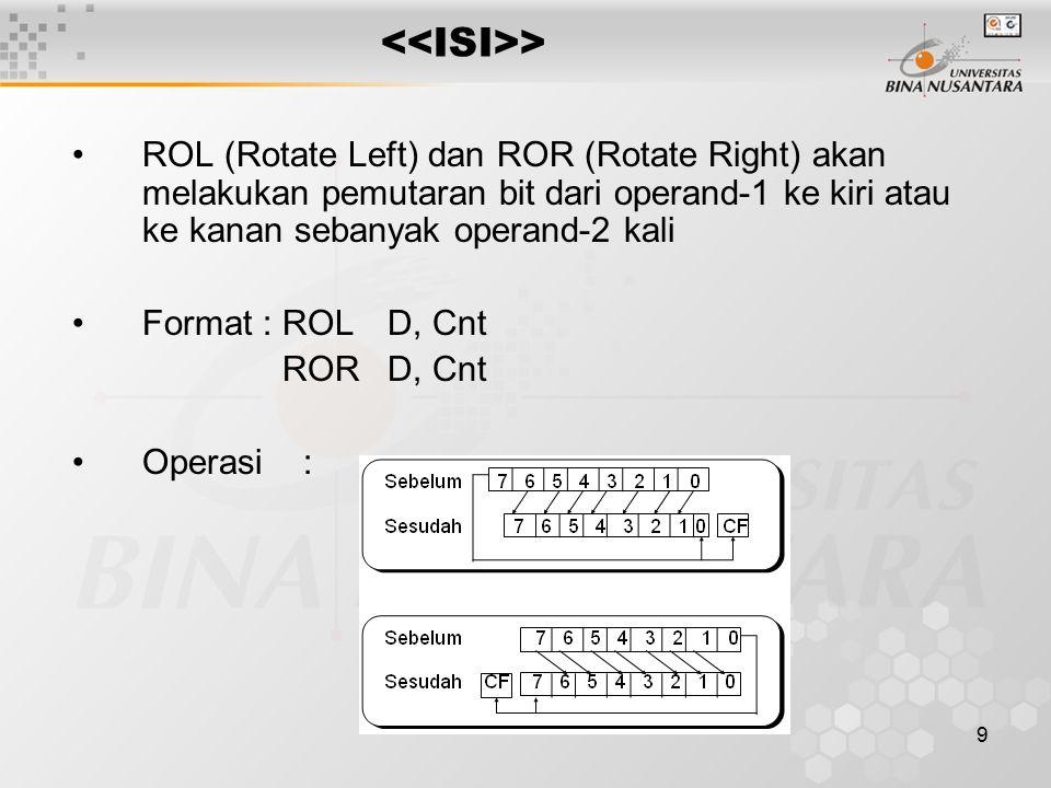 <<ISI>> ROL (Rotate Left) dan ROR (Rotate Right) akan melakukan pemutaran bit dari operand-1 ke kiri atau ke kanan sebanyak operand-2 kali.