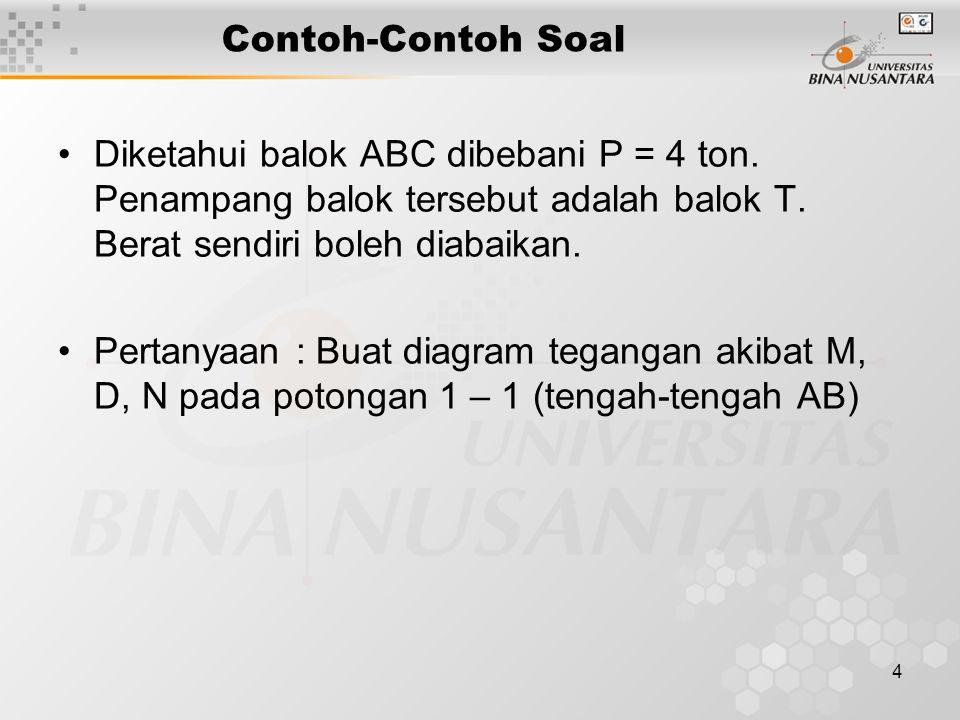 Contoh-Contoh Soal Diketahui balok ABC dibebani P = 4 ton. Penampang balok tersebut adalah balok T. Berat sendiri boleh diabaikan.