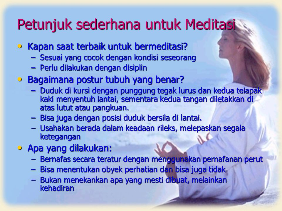 Petunjuk sederhana untuk Meditasi