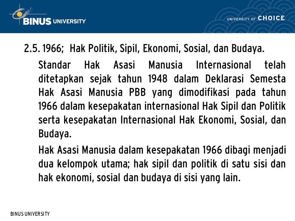 2.5. 1966; Hak Politik, Sipil, Ekonomi, Sosial, dan Budaya.
