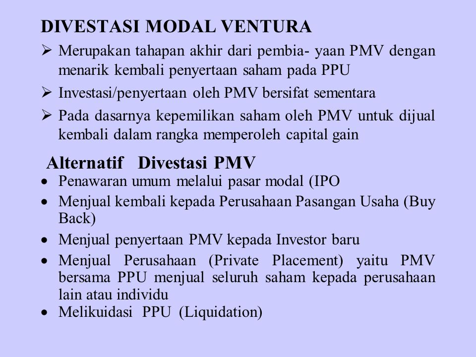 Alternatif Divestasi PMV