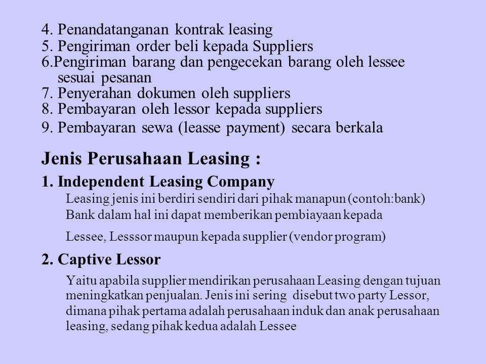Jenis Perusahaan Leasing :
