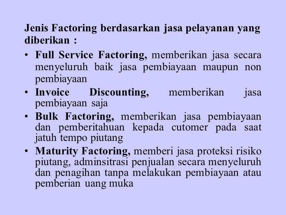 Jenis Factoring berdasarkan jasa pelayanan yang