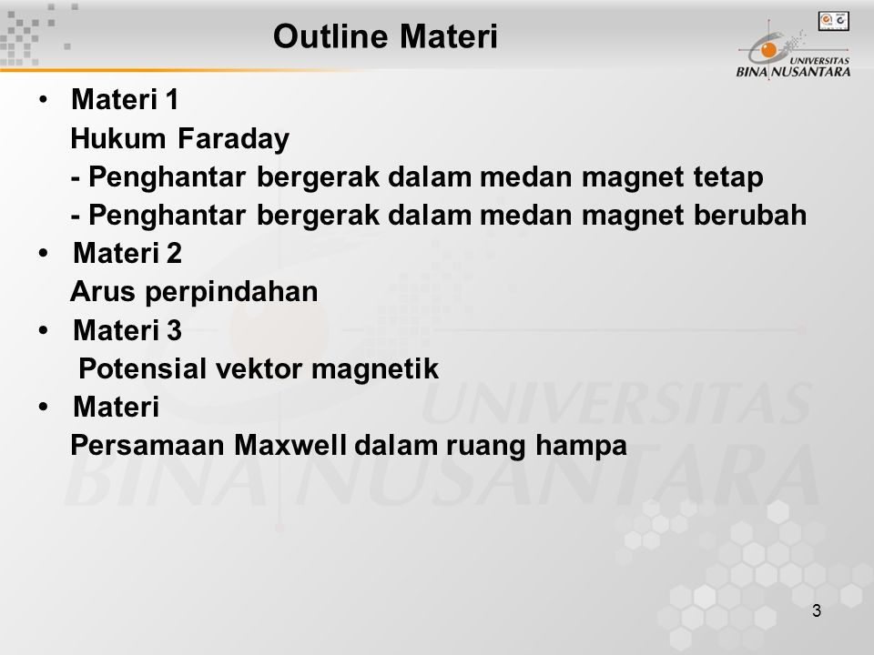 Outline Materi Materi 1 Hukum Faraday