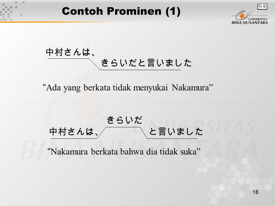 Contoh Prominen (1) 中村さんは、 きらいだと言いました