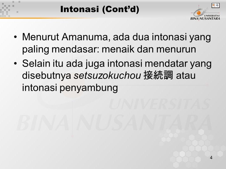 Intonasi (Cont'd) Menurut Amanuma, ada dua intonasi yang paling mendasar: menaik dan menurun.