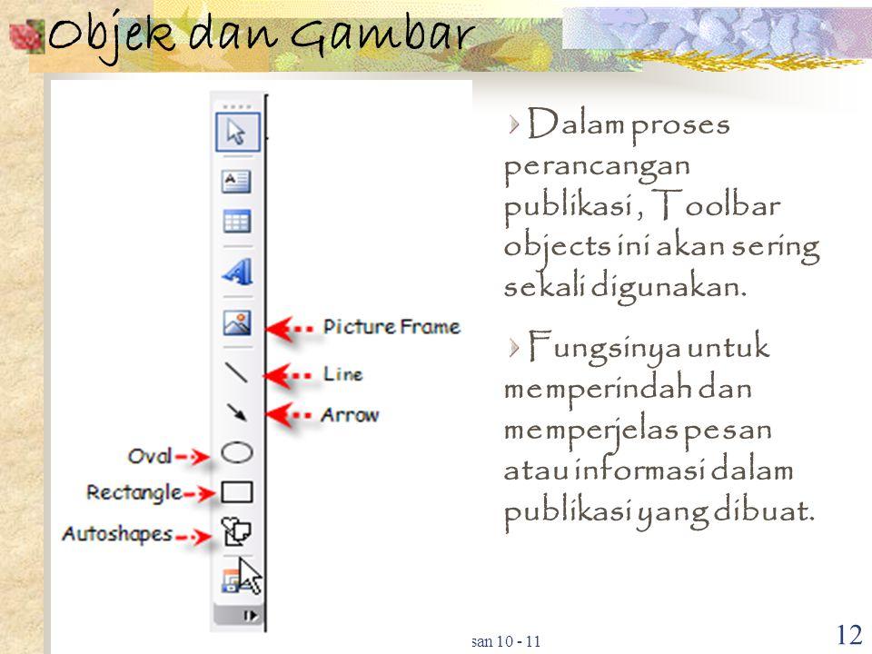 Objek dan Gambar Dalam proses perancangan publikasi , Toolbar objects ini akan sering sekali digunakan.