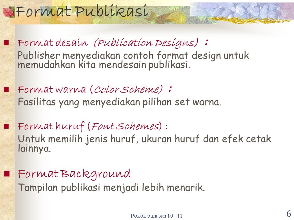 Format Publikasi Format Background