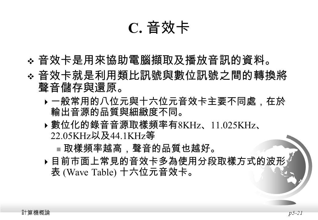 C. 音效卡 音效卡是用來協助電腦擷取及播放音訊的資料。 音效卡就是利用類比訊號與數位訊號之間的轉換將聲音儲存與還原。