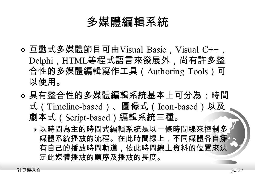 多媒體編輯系統 互動式多媒體節目可由Visual Basic,Visual C++,Delphi,HTML等程式語言來發展外,尚有許多整合性的多媒體編輯寫作工具(Authoring Tools)可以使用。