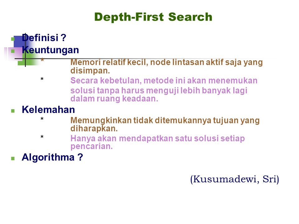 Depth-First Search Definisi Keuntungan