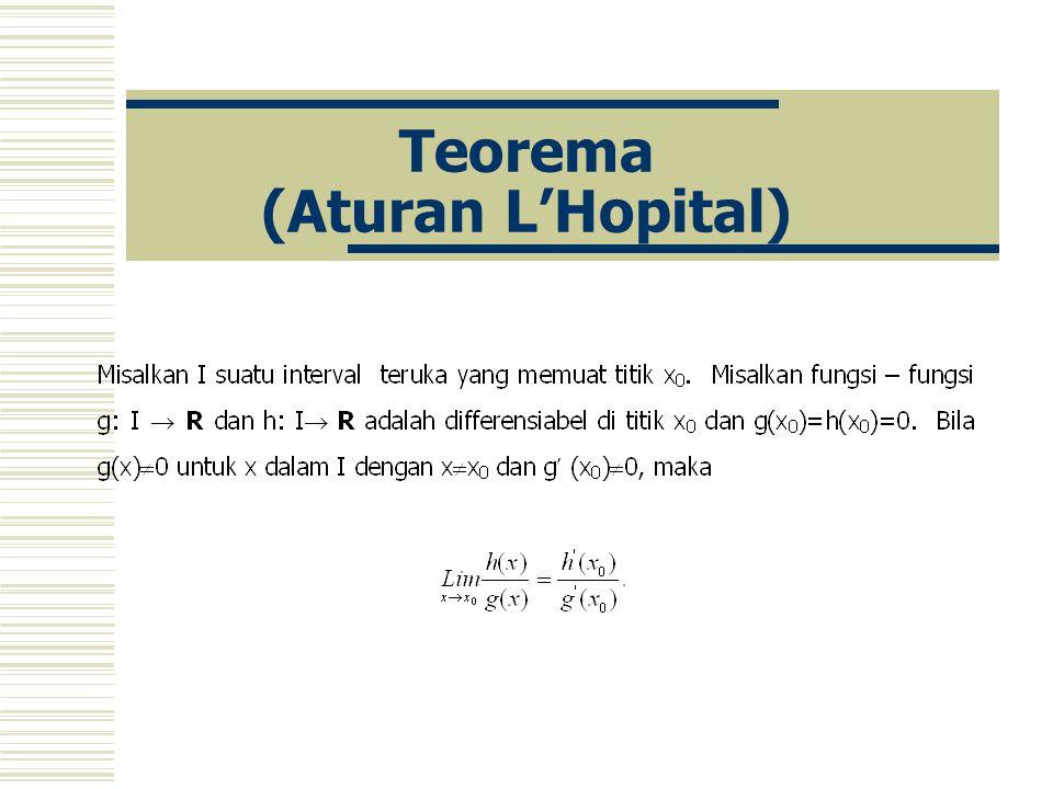 Teorema (Aturan L'Hopital)