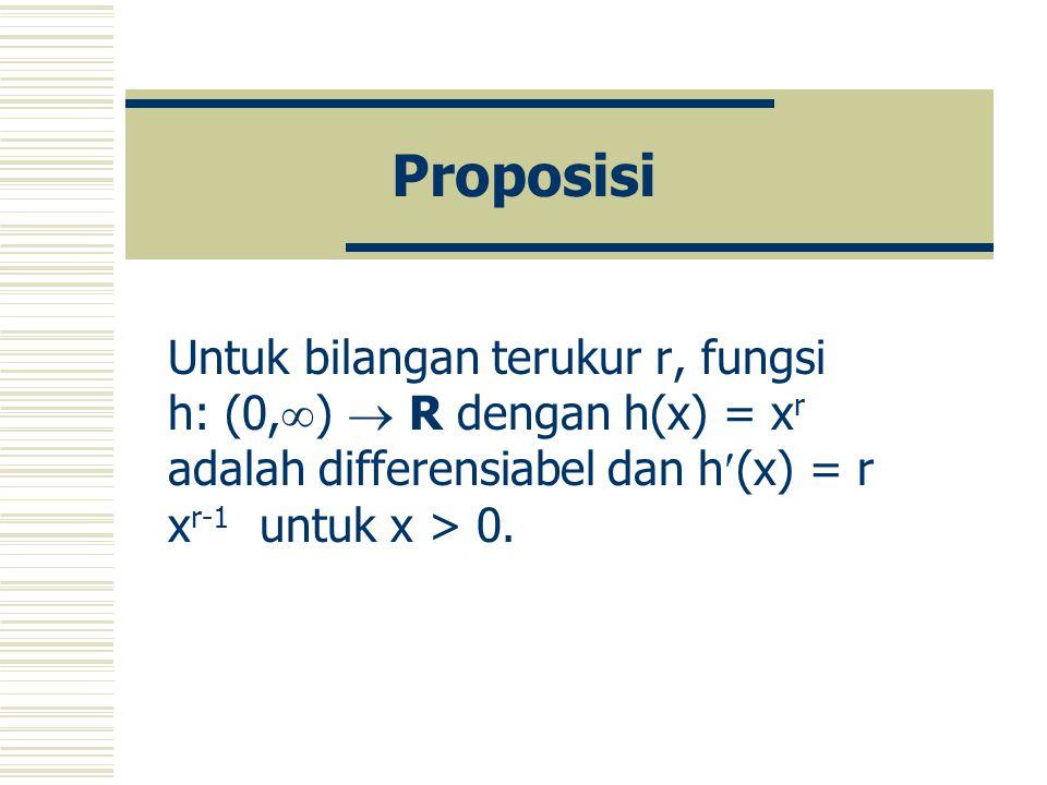 Proposisi Untuk bilangan terukur r, fungsi h: (0,)  R dengan h(x) = xr adalah differensiabel dan h(x) = r xr-1 untuk x > 0.