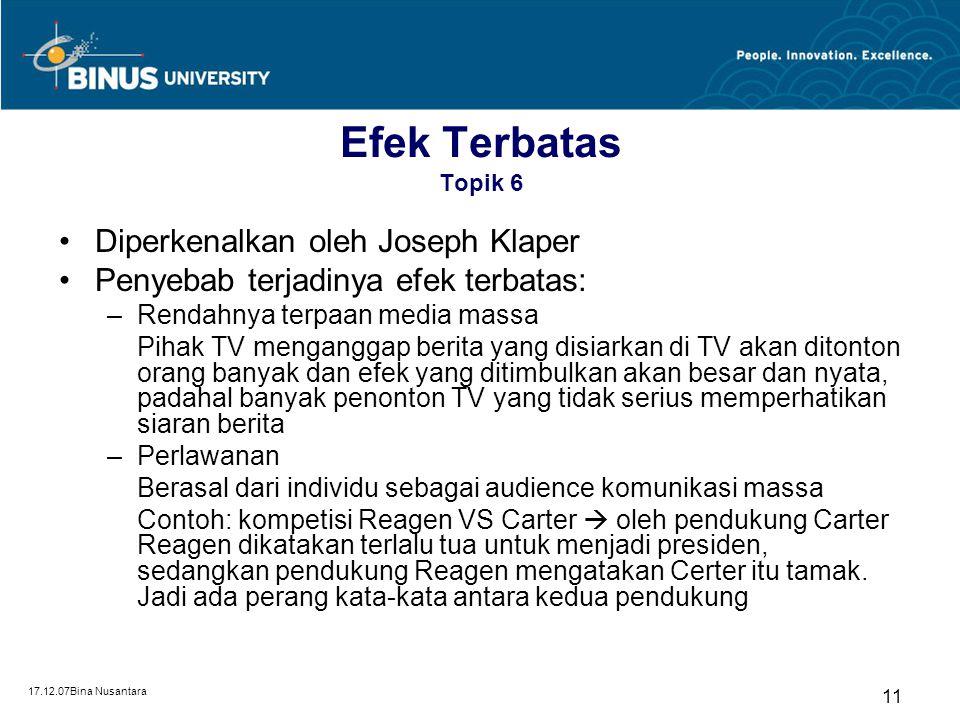 Efek Terbatas Topik 6 Diperkenalkan oleh Joseph Klaper