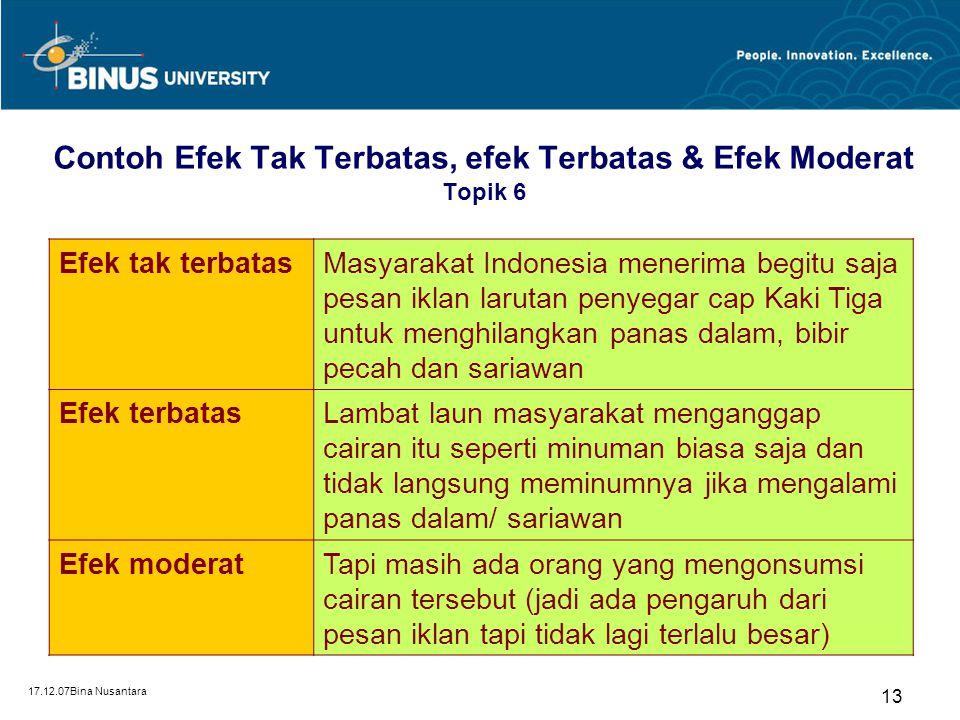 Contoh Efek Tak Terbatas, efek Terbatas & Efek Moderat Topik 6