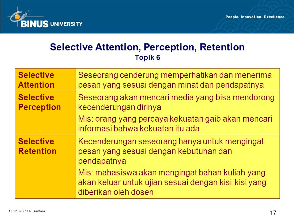 Selective Attention, Perception, Retention Topik 6