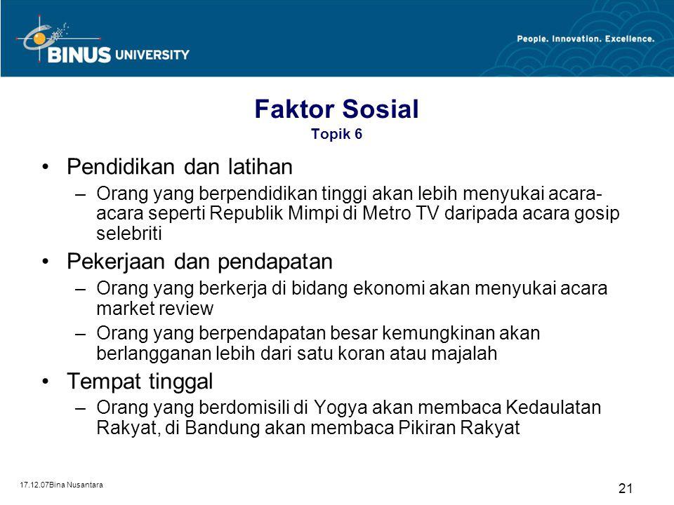 Faktor Sosial Topik 6 Pendidikan dan latihan Pekerjaan dan pendapatan