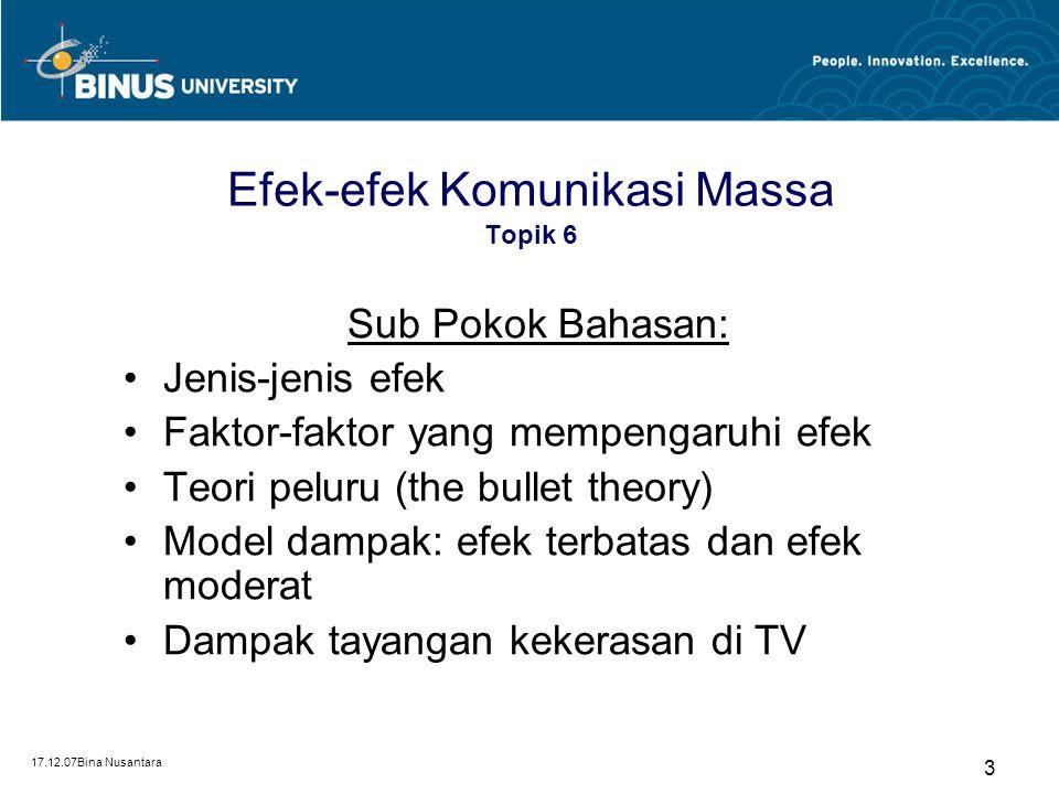Efek-efek Komunikasi Massa Topik 6