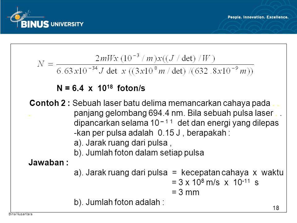 N = 6.4 x 1018 foton/s