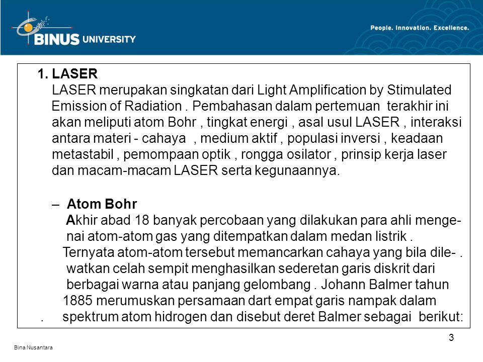 1. LASER . LASER merupakan singkatan dari Light Amplification by Stimulated .. Emission of Radiation . Pembahasan dalam pertemuan terakhir ini . akan meliputi atom Bohr , tingkat energi , asal usul LASER , interaksi . antara materi - cahaya , medium aktif , populasi inversi , keadaan . metastabil , pemompaan optik , rongga osilator , prinsip kerja laser . dan macam-macam LASER serta kegunaannya.
