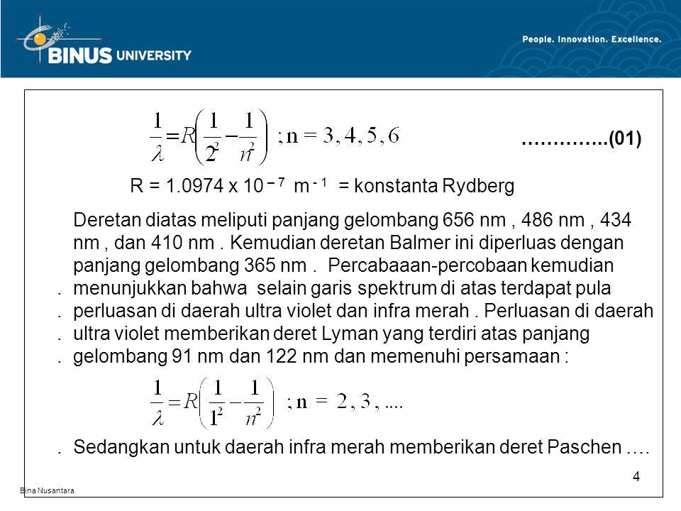 R = 1.0974 x 10 – 7 m - 1 = konstanta Rydberg