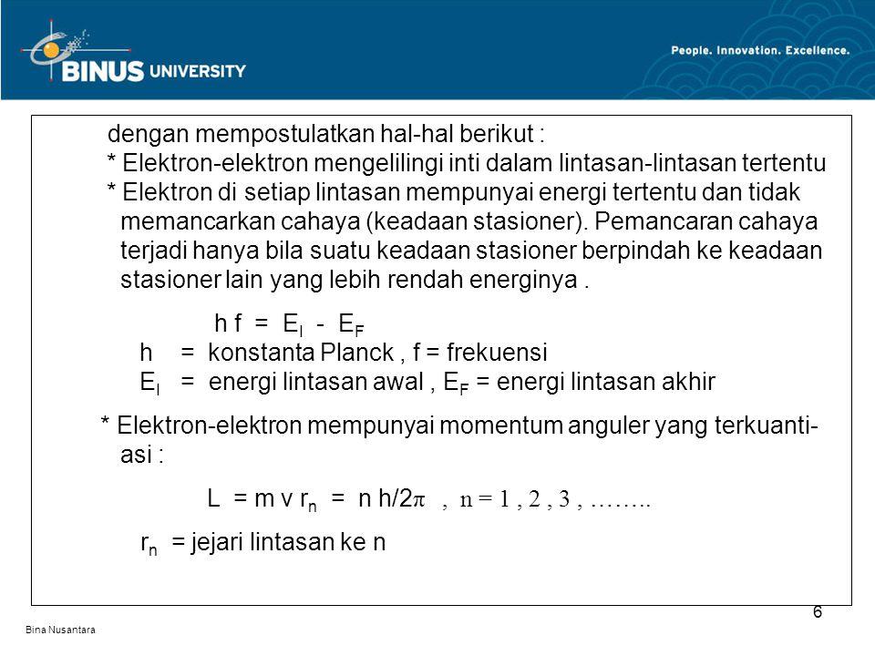 * Elektron-elektron mempunyai momentum anguler yang terkuanti- . asi :