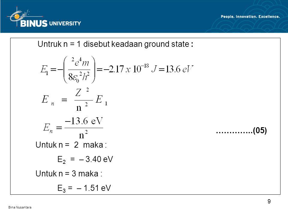 Untruk n = 1 disebut keadaan ground state :