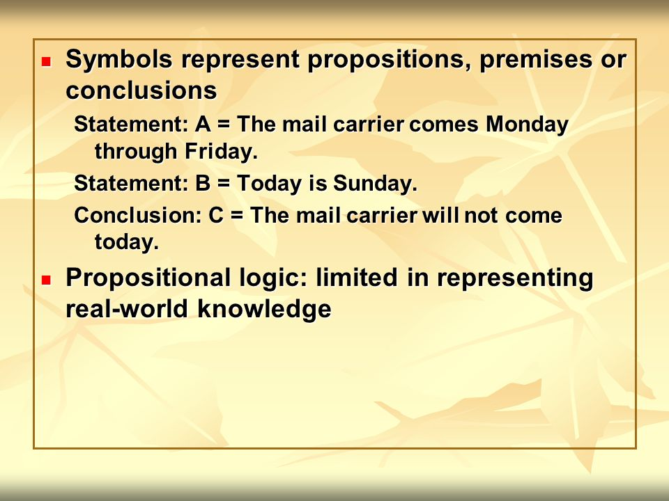 Symbols represent propositions, premises or conclusions