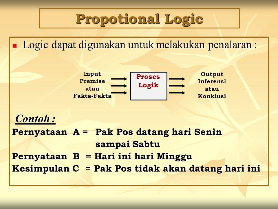 Propotional Logic Logic dapat digunakan untuk melakukan penalaran :