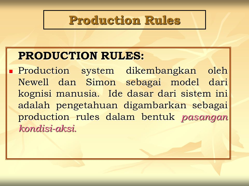 Production Rules PRODUCTION RULES: