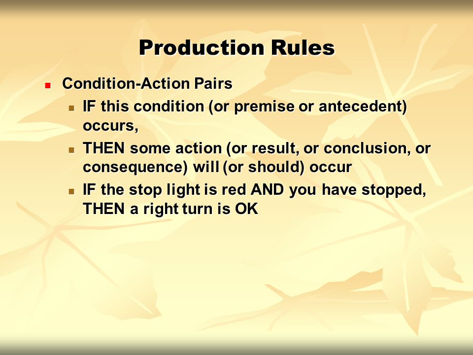 Production Rules Condition-Action Pairs