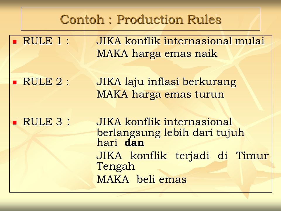 Contoh : Production Rules