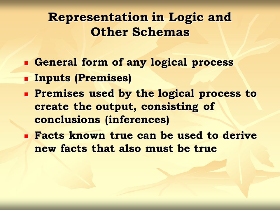 Representation in Logic and Other Schemas