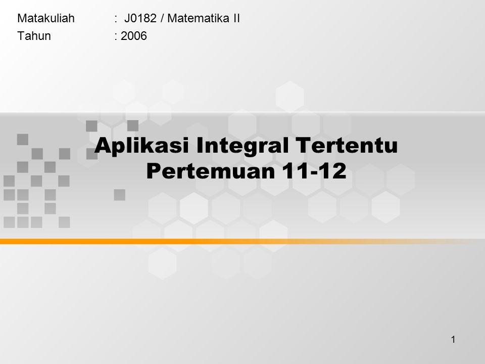 Aplikasi Integral Tertentu Pertemuan 11-12