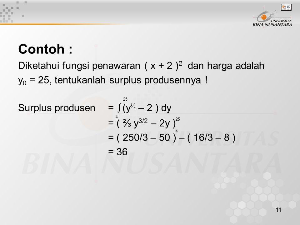 Contoh : Diketahui fungsi penawaran ( x + 2 )2 dan harga adalah