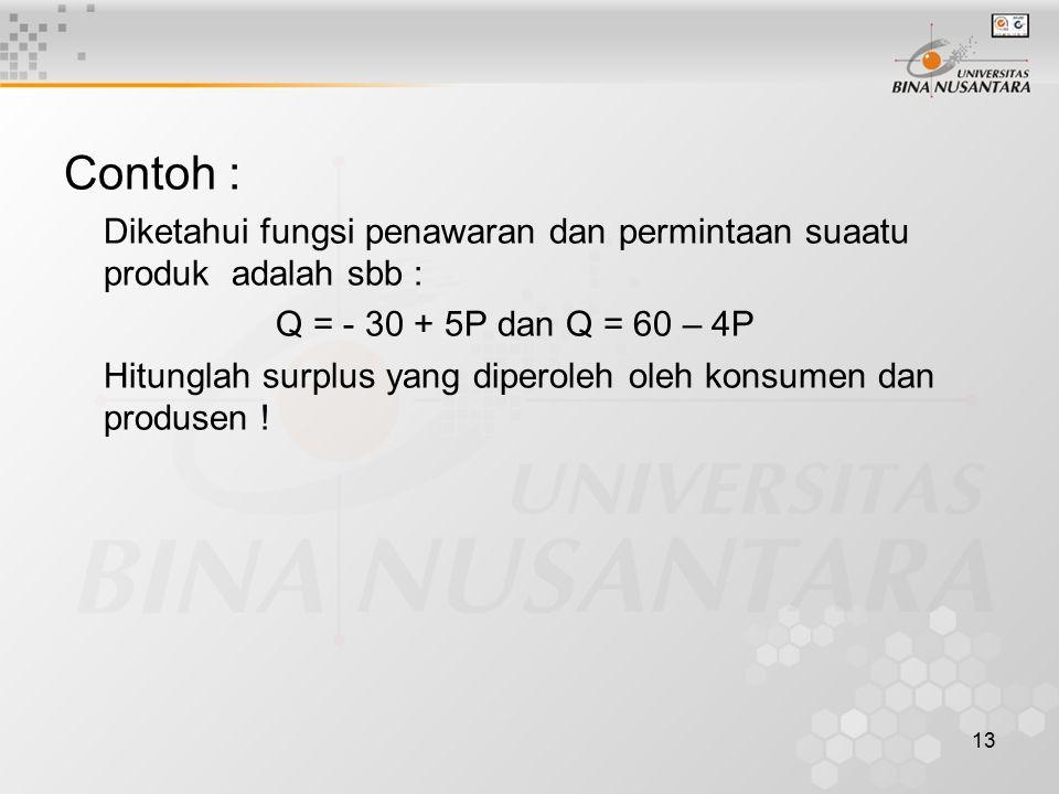Contoh : Diketahui fungsi penawaran dan permintaan suaatu produk adalah sbb : Q = - 30 + 5P dan Q = 60 – 4P.