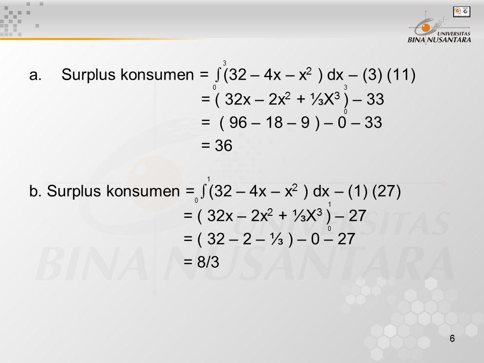Surplus konsumen = ∫(32 – 4x – x2 ) dx – (3) (11)
