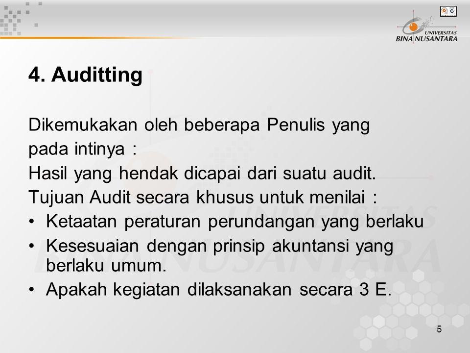 4. Auditting Dikemukakan oleh beberapa Penulis yang pada intinya :