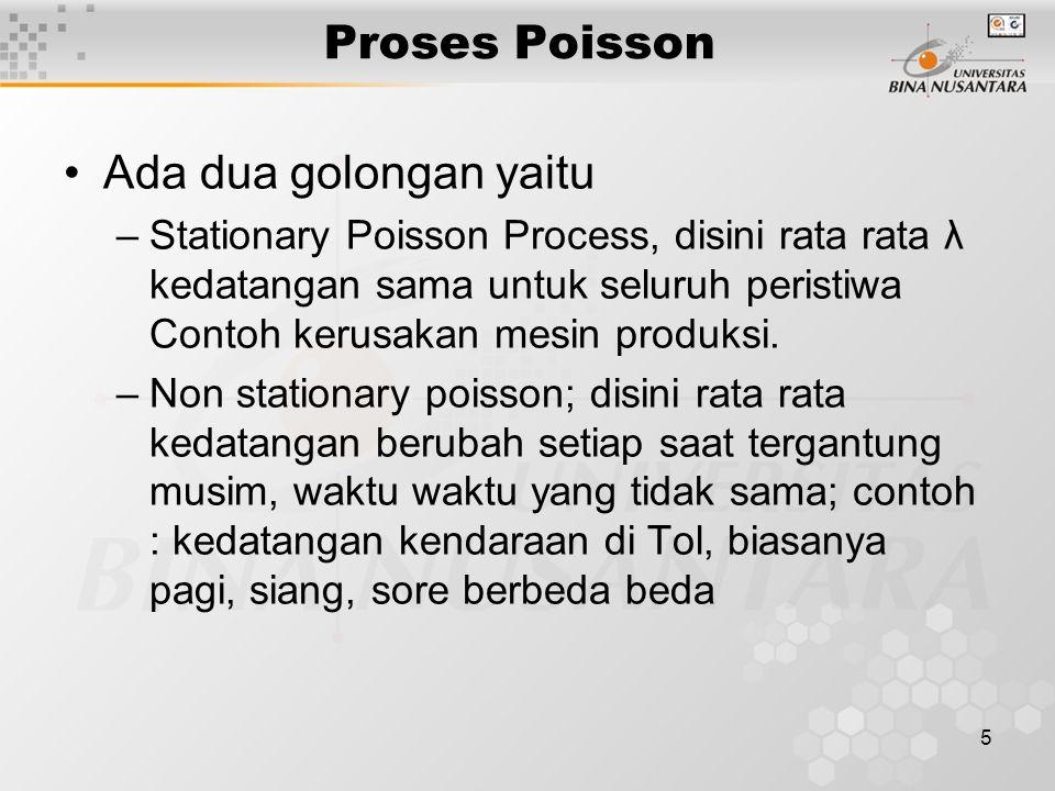 Proses Poisson Ada dua golongan yaitu