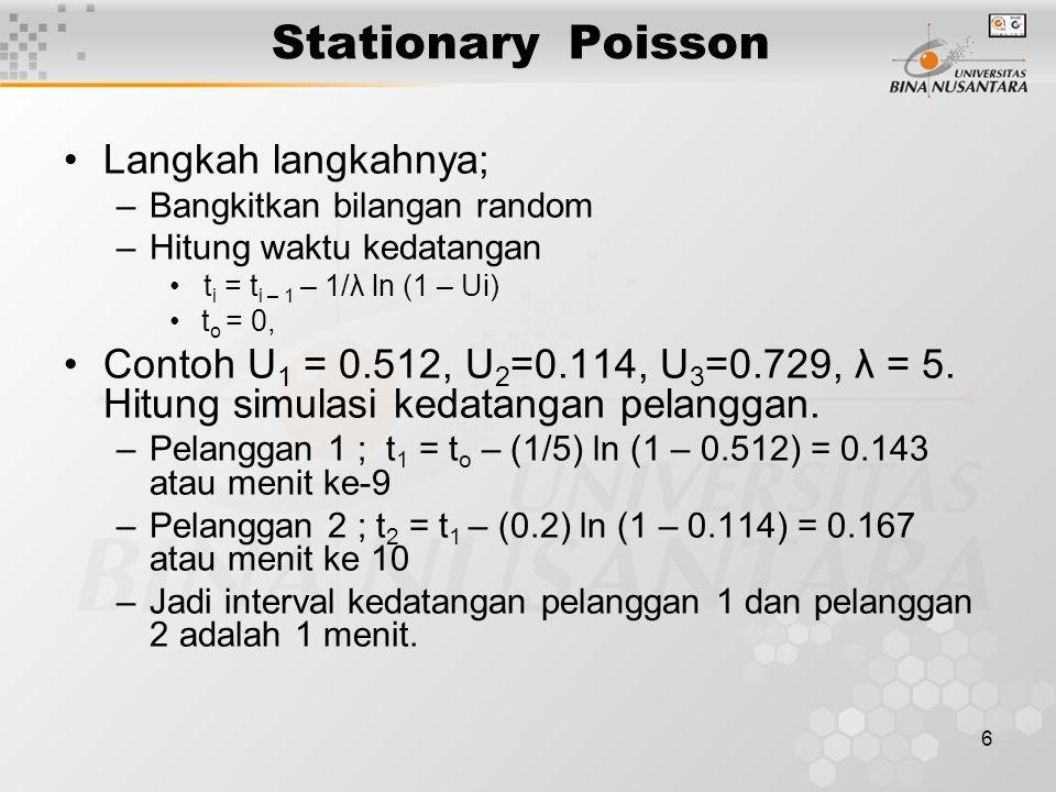 Stationary Poisson Langkah langkahnya;