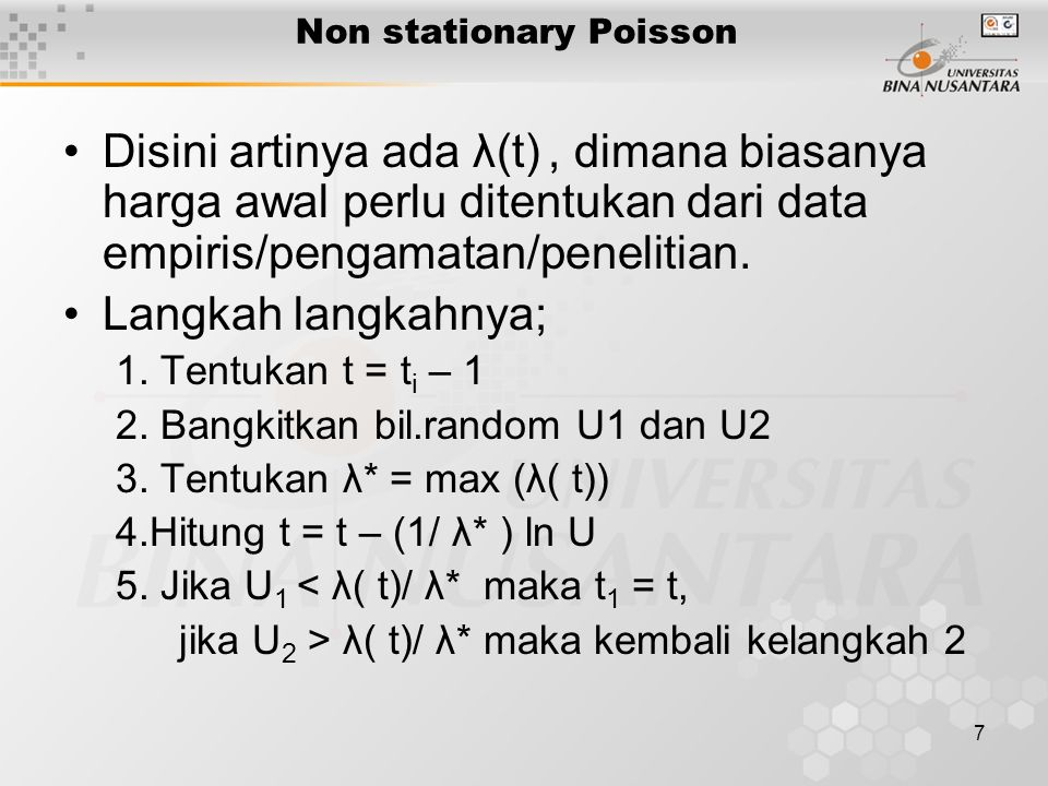 Non stationary Poisson