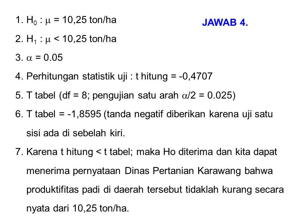 H0 :  = 10,25 ton/ha H1 :  < 10,25 ton/ha.  = 0.05. Perhitungan statistik uji : t hitung = -0,4707.