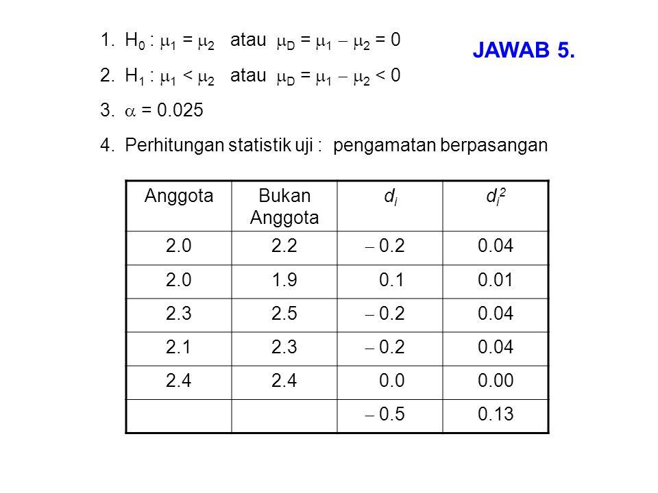 JAWAB 5. H0 : 1 = 2 atau D = 1  2 = 0